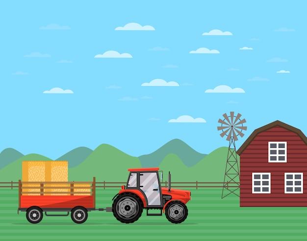 Traktor, der anhänger mit heubanner zieht Premium Vektoren