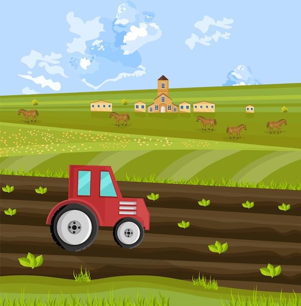 Traktor, der die erde am bauernhof verarbeitet Premium Vektoren