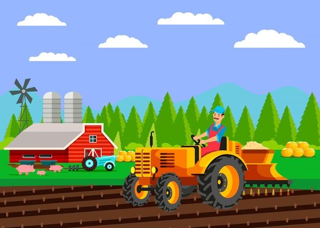 Traktor, der feld-flache vektor-illustration sät Premium Vektoren