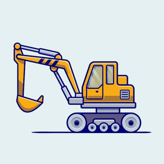 Traktor fahrzeug cartoon. gebäudetransport isoliert Kostenlosen Vektoren