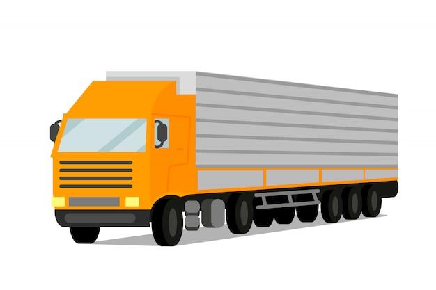 Traktor-frachtanhänger-flache vektor-illustration Premium Vektoren