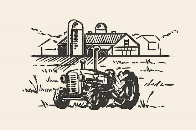 Traktor mit einer ländlichen szenen-skizzenillustration. hand gezeichnete illustration der rustikalen farmlandschaft. Premium Vektoren