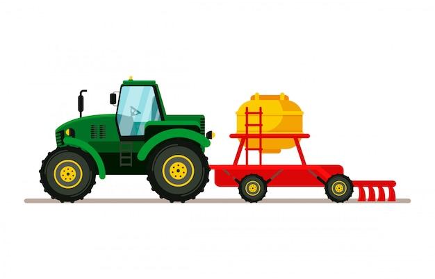 Traktor mit sämaschinen-flacher vektor-illustration Premium Vektoren