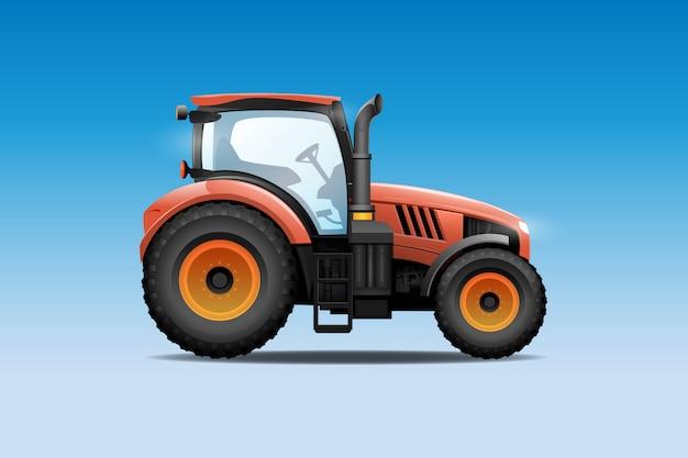 Traktor-vektor-illustration. seitenansicht des modernen ackerschleppers Premium Vektoren