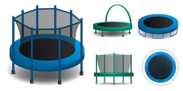 Trampolinikonen eingestellt. realistischer satz trampolinevektorikonen für das webdesign lokalisiert auf weißem hintergrund Premium Vektoren