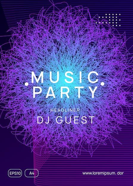 Trance party dj neon flyer Premium Vektoren