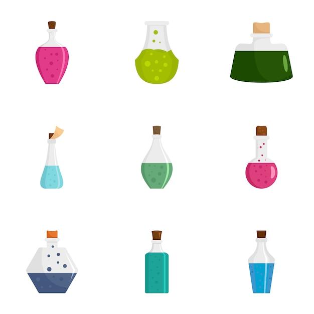 Trank flasche icon set. flacher satz von 9 trankflaschenikonen Premium Vektoren