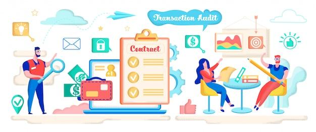 Transaktionsprüfung, vertrag mit lupe prüfen. Premium Vektoren