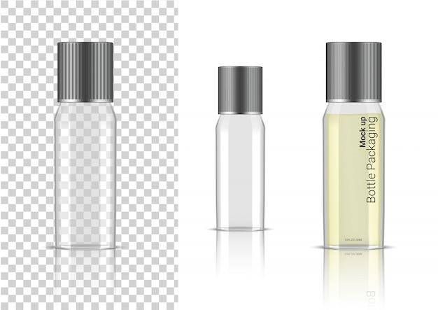 Transparente flasche realistische produkt-gesundheitspflege-verpackung Premium Vektoren
