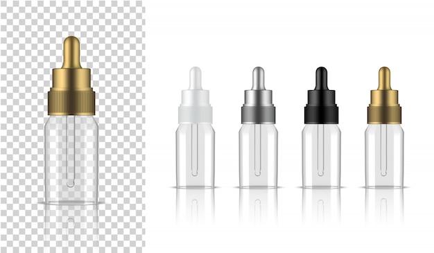 Transparente flasche realistische tropfenkosmetik Premium Vektoren