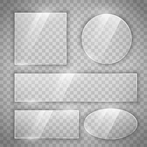 Transparente glänzende glastasten in verschiedenen formen Kostenlosen Vektoren