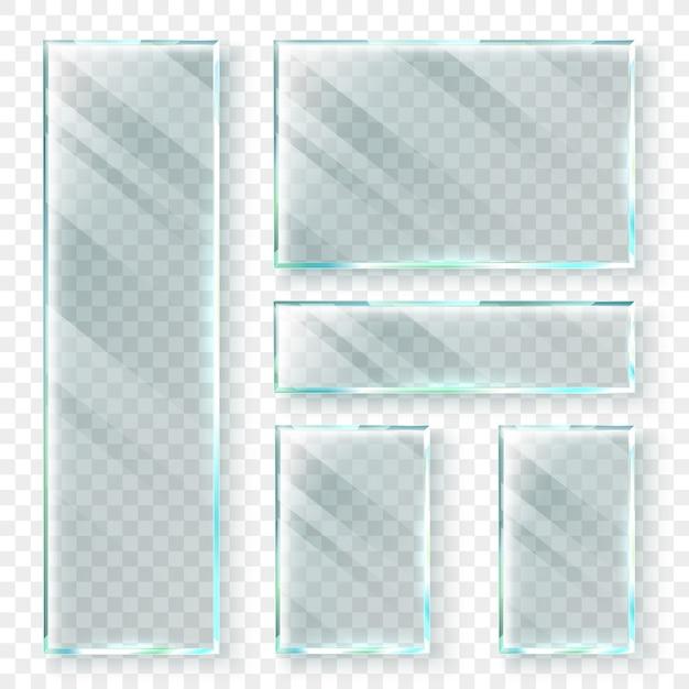 Transparente glasfahnen. glas- oder plastikfahne des fensters 3d. realistische abbildung festgelegt Premium Vektoren