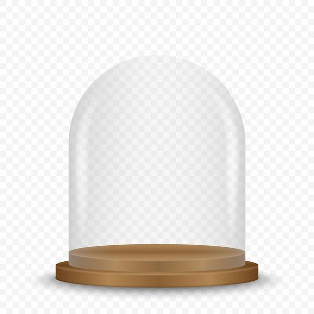Transparente glaskuppel auf podium. Premium Vektoren