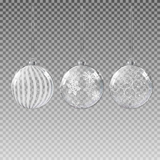 Transparente glasweihnachtskugel mit schnee Premium Vektoren