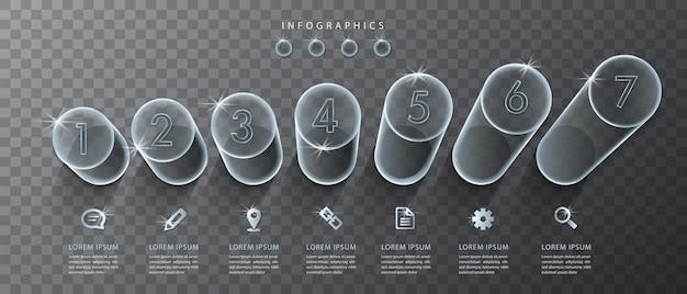 Transparente glaszylinder und symbole der benutzeroberfläche des infografikdesigns. ideal für das layout und das prozessdiagramm des banner-workflows für die präsentation von geschäftskonzepten. Premium Vektoren