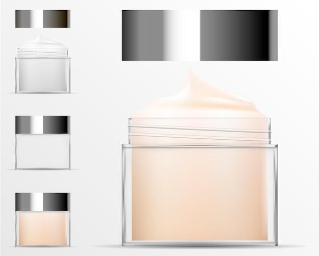 Transparente kosmetische plastikflasche. realistisches glas Premium Vektoren