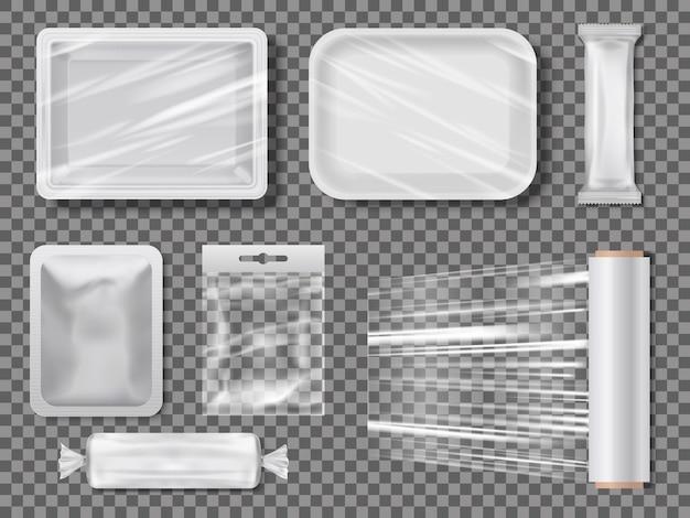 Transparente lebensmittelverpackungen aus polyethylen. Premium Vektoren