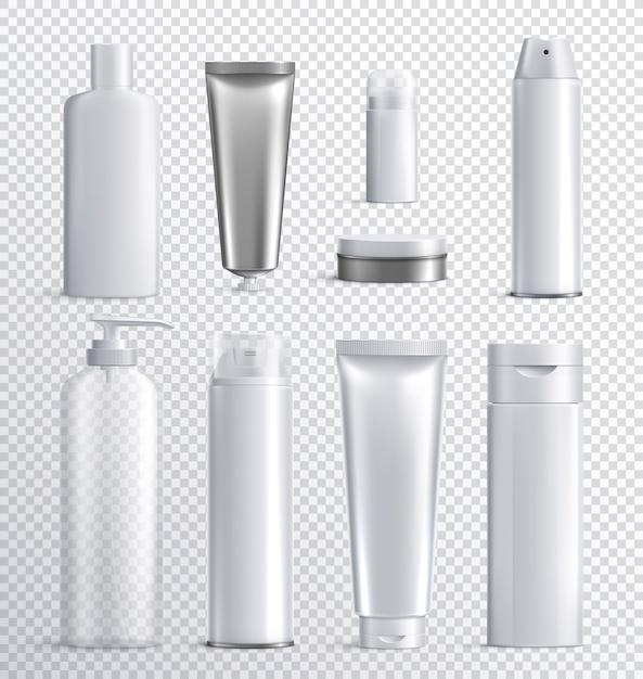 Transparente realistische ikone der kosmetikflaschen der männer stellte mit transparentem hintergrund für flüssiges sprayshampoo oder hautpflegeillustration ein Kostenlosen Vektoren