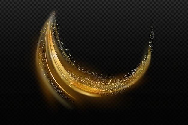 Transparente tapete mit glänzender goldener welle Kostenlosen Vektoren