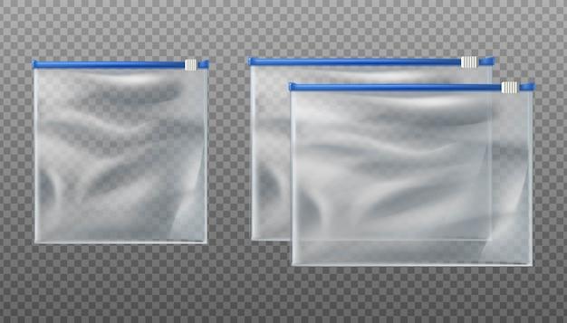 Transparente taschen mit blauem reißverschluss. leere beutel in verschiedenen größen auf transparentem hintergrund. Premium Vektoren