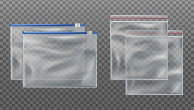 Transparente taschen mit reißverschluss und transparente taschen mit reißverschluss. leere beutel in verschiedenen größen auf transparentem hintergrund. Premium Vektoren