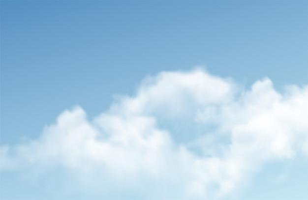 Transparente verschiedene wolken auf blauem hintergrund. echter transparenz-effekt. Premium Vektoren