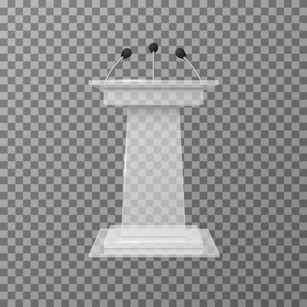 Transparente vortragsredner-podiumstribüne lokalisierte vektorillustration Premium Vektoren