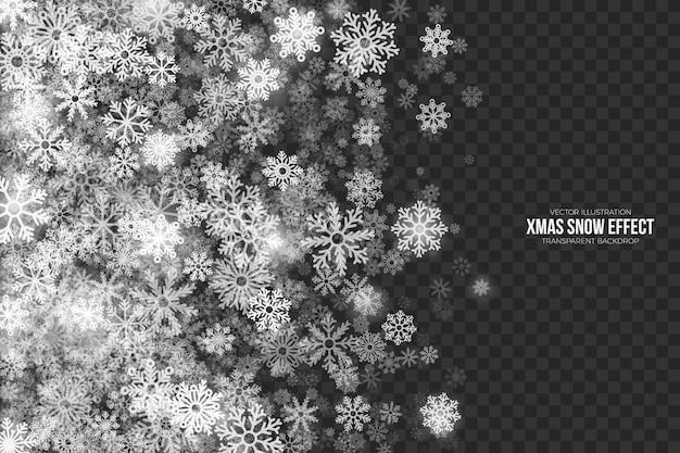 Transparenter 3d weihnachtsschnee-effekt Premium Vektoren