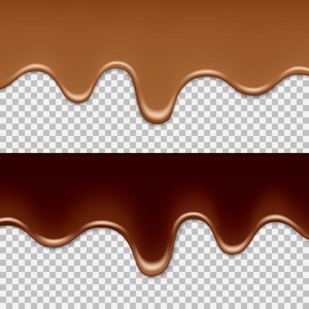 Transparenter hintergrund der geschmolzenen milch und der dunklen schokolade. Premium Vektoren