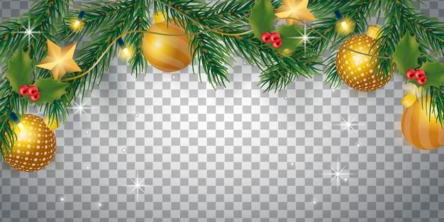 Transparenter hintergrund mit weihnachtsdekoration Kostenlosen Vektoren