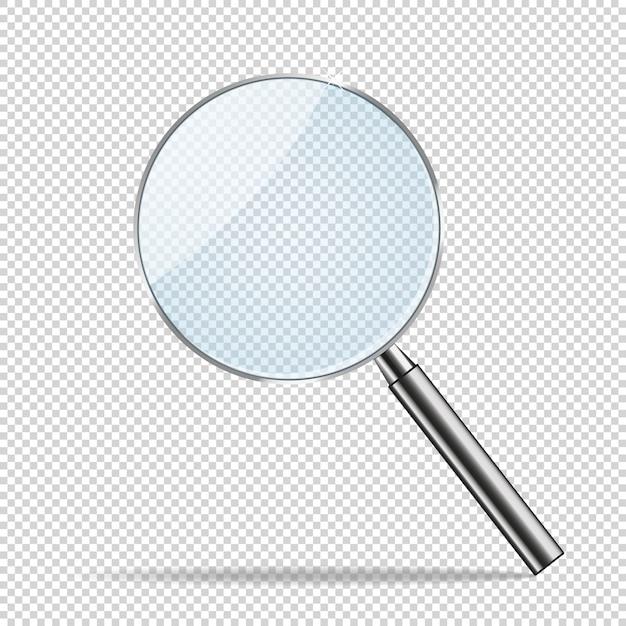 Transparenter realistischer vektor der lupe. Premium Vektoren