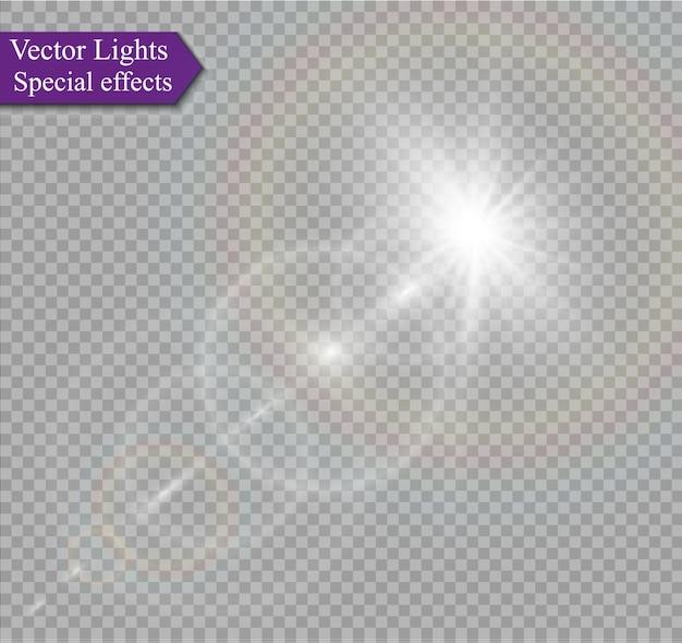 Transparenter sonnenlicht-spezialeffekt für linseneffekte Premium Vektoren