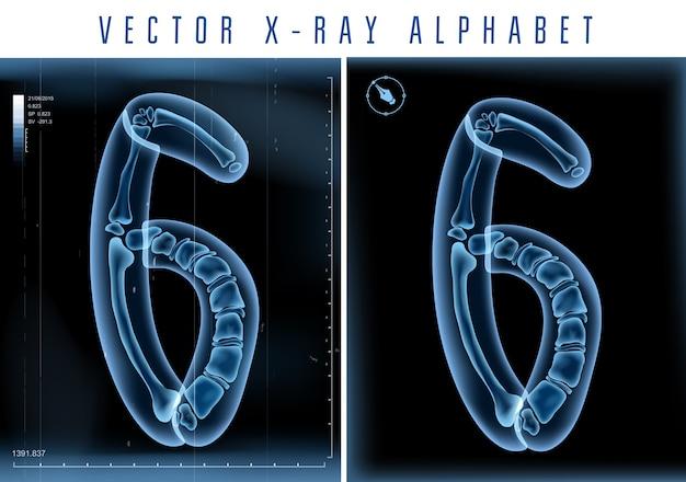 Transparentes 3d-röntgenalphabet zur verwendung in logo oder text. nummer sechs 6 Premium Vektoren