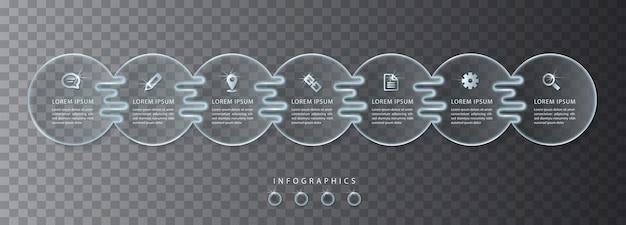 Transparentes glas der ui-vorlage der infografik. ideal für das layout und das prozessdiagramm des banner-workflows für die präsentation von geschäftskonzepten. Premium Vektoren