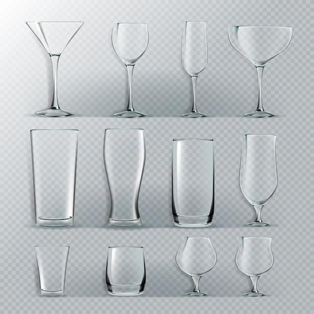 Transparentes glas-set Premium Vektoren