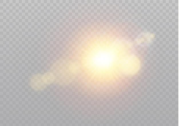 Transparentes sonnenlicht speziallinseneffekt. abstraktes weihnachtsmuster. funkelnde magische staubpartikel Premium Vektoren