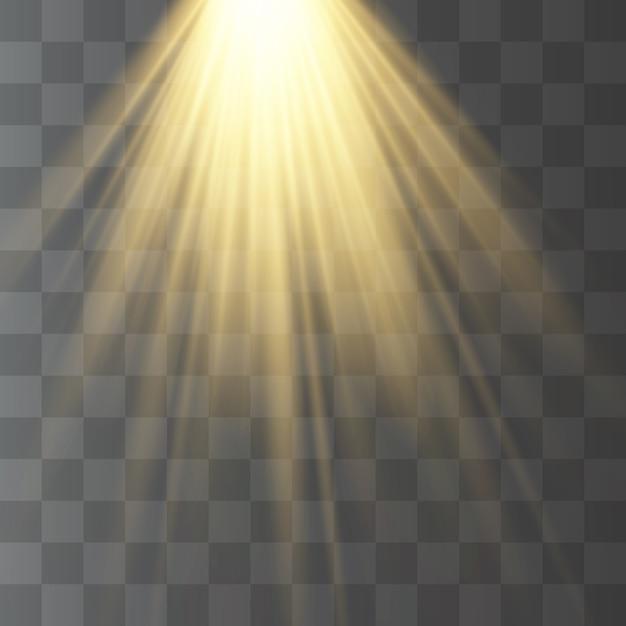 Transparentes sonnenlicht, taschenlampe, verschwimmen im strahlen. Premium Vektoren
