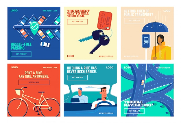 Transport app social media post collection instagram Premium Vektoren