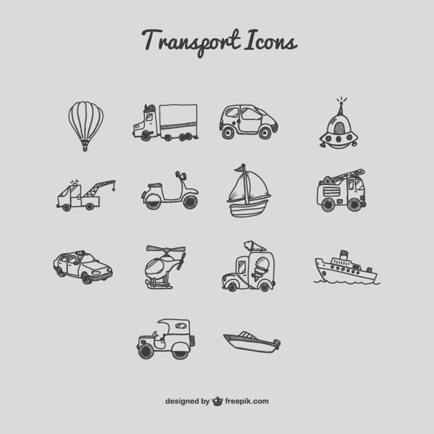 Transport icons cartoon satz Kostenlosen Vektoren
