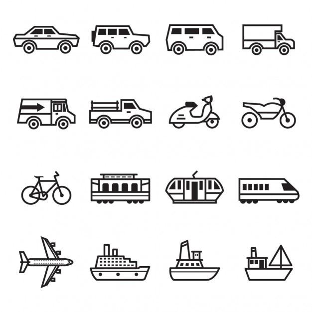 Transport-ikonen-sammlung Kostenlosen Vektoren