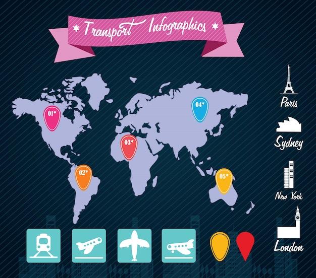 Transport infographics reist um die welt Premium Vektoren
