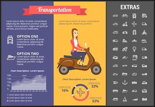Transport infographik vorlage und elemente Premium Vektoren