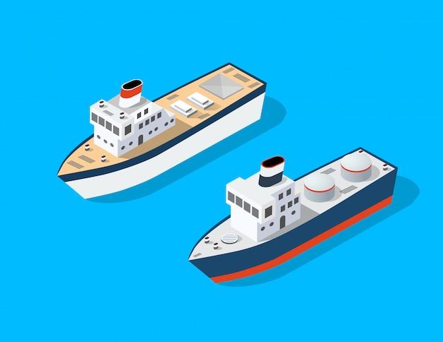 Transport isometrisches boot Premium Vektoren