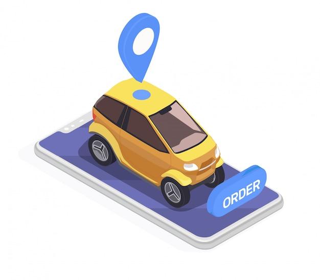 Transport isometrisches konzept mit smartphone und gelbem elektroauto auf weißem hintergrund 3d Kostenlosen Vektoren