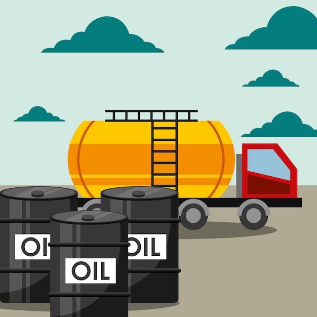 Transport lkw tanker und fässer ölindustrie Premium Vektoren