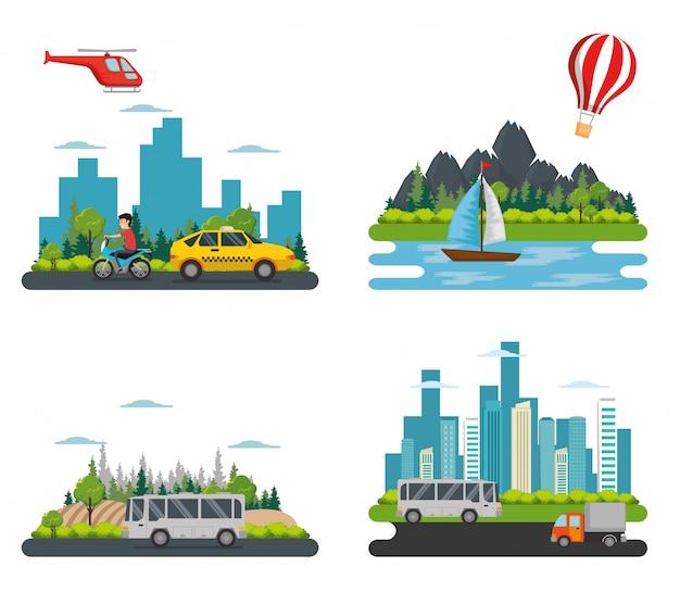 Transport logistik set fahrzeuge Kostenlosen Vektoren