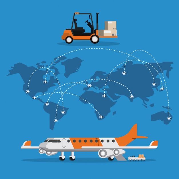 Transport-passagierflugzeugkarikatur Kostenlosen Vektoren