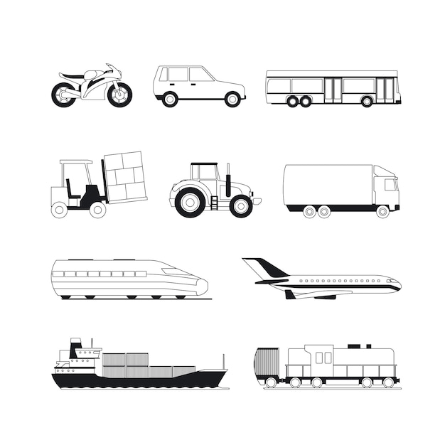 Transport schwarze symbole zu skizzieren Premium Vektoren