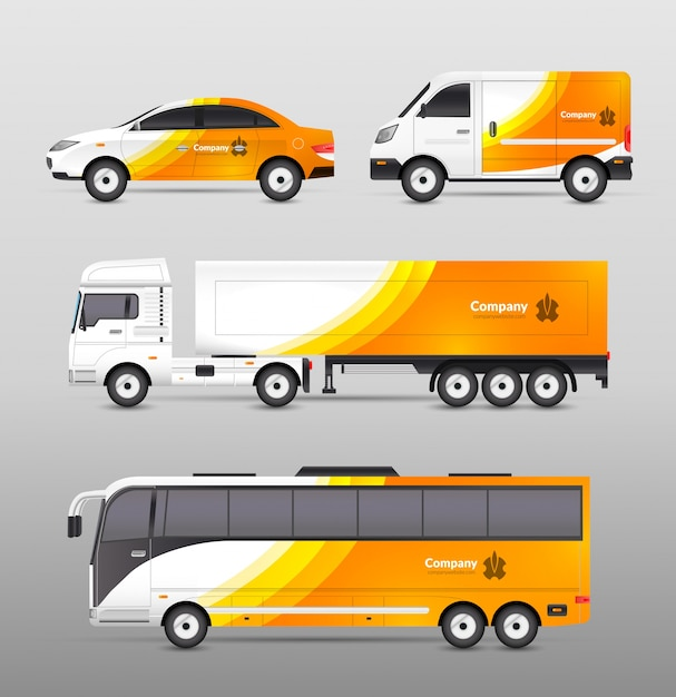 Transport werbung design Kostenlosen Vektoren