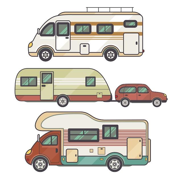Transporteinrichtung einstellen - wohnwagen Premium Vektoren